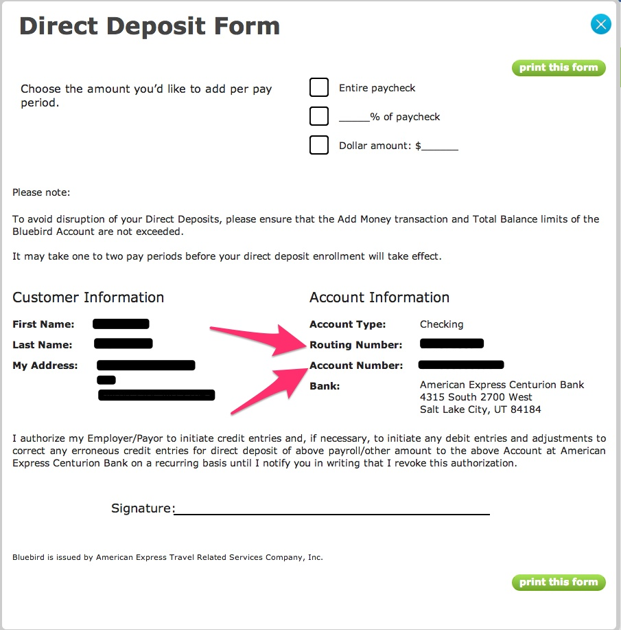 bluebird routing number and account information - bluebird american