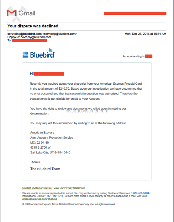 """Bluebird card dispute letter"""